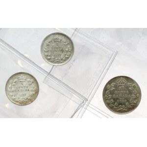 Kanada, Jerzy V, 5 centów 1902-1920 - piękne (3szt)