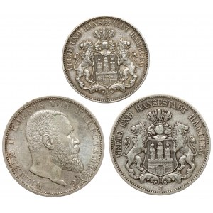 Niemcy, 2 - 5 marek 1876-1914, zestaw (3szt)