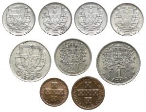 Portugalia, od 10 centavos do 1 escudo 1942-1951, zestaw (9szt)