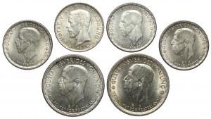 Szwecja, Gustaw V, 1 i 2 korony 1940-1950, zestaw (6szt)