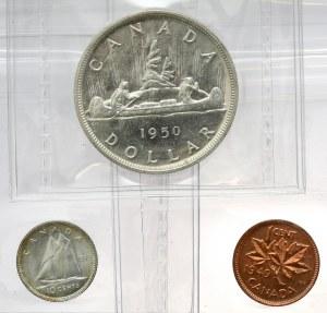 Kanada, Jerzy VI, 1 i 10 centów 1949 i Dolar 1950, zestaw (3szt)