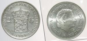Niderlandy, 2 1/2 oraz 10 guldenów 1939-1970, SREBRO (2szt)