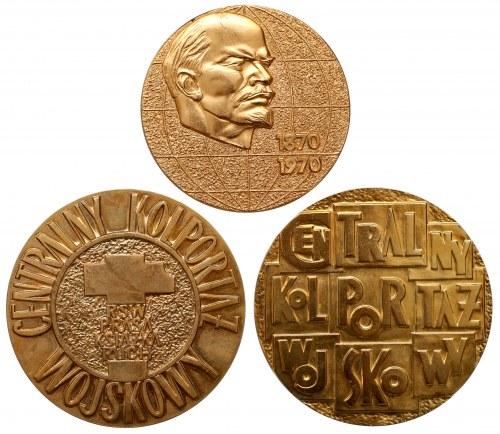 Złocone medale PRL w etui (3szt)