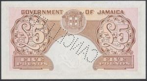 Jamajka, 5 Pounds 1957 - CANCELLED