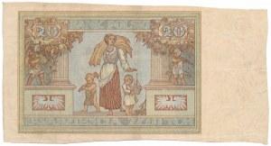 20 złotych 1931 - bez serii i numeru, ręcznie wycięty z arkusza
