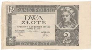 2 złote 1936 - bez poddruku, serii i numeracji - szerokie marginesy