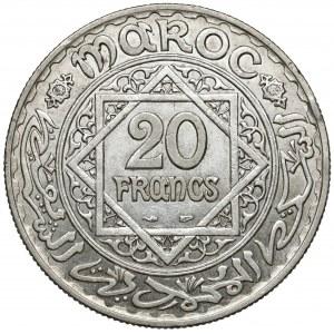 Maroko, Mohammed V, 20 franków AH1347 (1929)