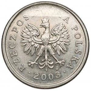 Destrukt 20 groszy 2003 - wykruszenie stempla