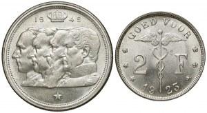 Belgia, 2 franki 1923 i 100 franków 1949, zestaw (2szt)
