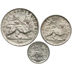 Etiopia, Haile Selassie I, od 10 do 50 Matonas 1931 - zestaw (3szt)
