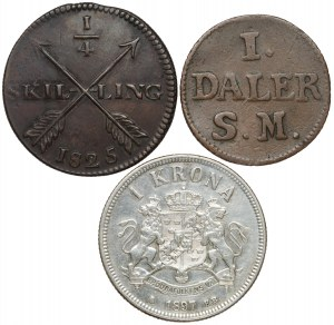 Szwecja, Daler, 1/4 skilling, 1 krona 1715-1897 (3szt)