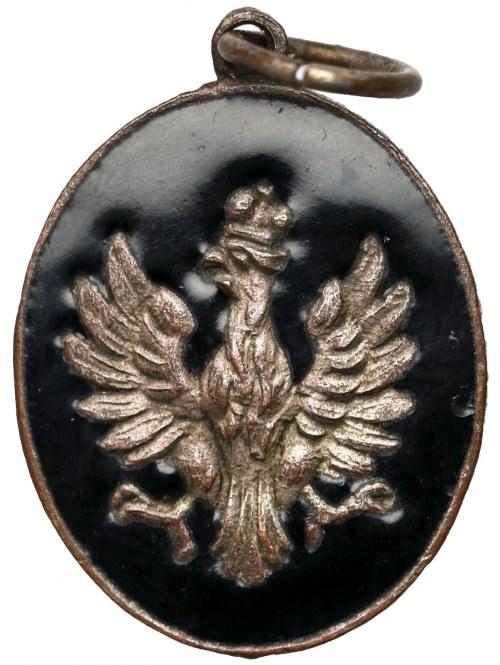 Medalik patriotyczny z orłem na czarnym tle (żałoba narodowa?)