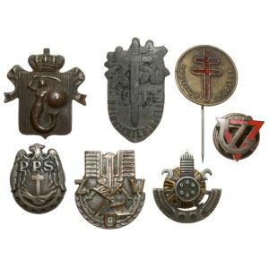 II RP / PRL, zestaw odznak i przypinek (7szt)