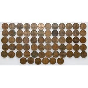Łotwa, 1 santims, różne roczniki - duży zestaw (66szt)