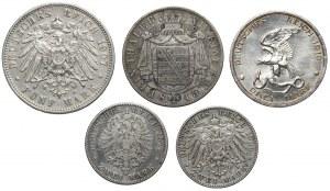Niemcy, od 2 mk do talara 1877-1913 (5szt)
