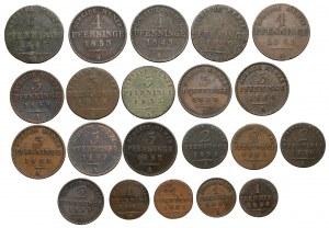 Niemcy, Prusy, od 1 do 4 fenigów A-Berlin - zestaw (21szt)