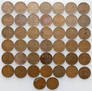 Łotwa, 5 santimi 1922 - duży zestaw (44szt)