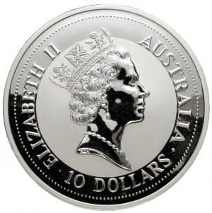 Australia, 10 dolarów 1992, Kookaburra - 10 oz Ag.9999