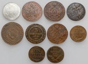 Austro-Węgry, 1-20 krajcarów 1794-1816 (10szt)