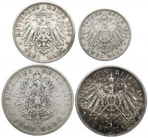 Niemcy, 2 - 5 marek 1876-1909 (4szt)