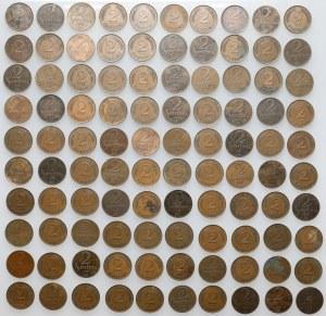 Łotwa, 2 santimi, różne roczniki - duży zestaw (100szt)
