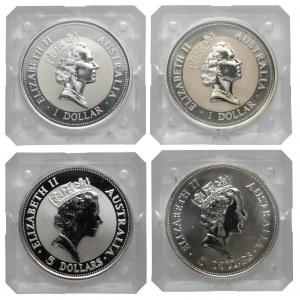 Australia, od 1 do 5 dolarów 1990-1995, Kookaburra, zestaw (4szt)