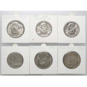 10 złotych 1959-1969 MAŁA kolumna, Kopernik i Kościuszko (6szt)