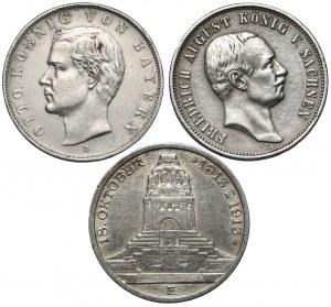 Saksonia i Bawaria, 3 marki 1908-1913 (3szt)