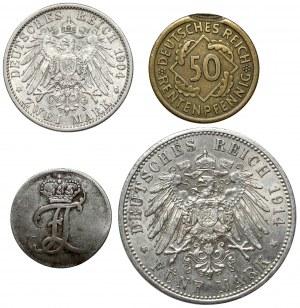 Niemcy, od 50 pfg do 5 mk 1775-1924 (4szt)