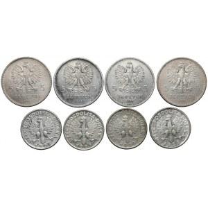 2 i 5 złotych 1924-1930, Nike, Sztandar, Żniwiarka (8szt)