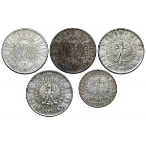 5 i 10 złotych 1934-1939 Piłsudski, Strzelecki, Żaglowiec, (5szt)