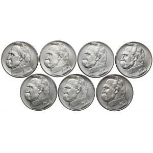 10 złotych 1934-39 Piłsudski, Strzelecki, KOMPLET (7szt)