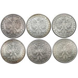 10 złotych 1932-1933 Głowa Kobiety, zestaw (6szt)