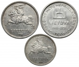 Litwa, 5 i 10 litu 1936-1938 (3szt)