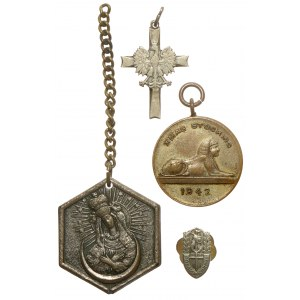 PSZnZ, zestaw pamiątek wojennych - w tym miniaturka odznaki 2 Korpusu Polskiego (4szt)