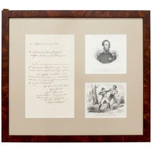 Gaspard Gourgaud - WŁASNORĘCZNY odpis dyplomu nadania Legii Honorowej i grafiki - okres napoleoński