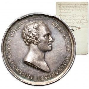 Medal SREBRO Stanisław Mokronoski 1821 - PIĘKNY, z dokumentem