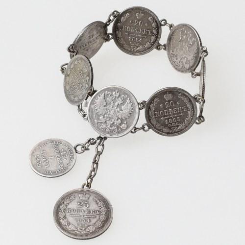 Rosja, Bransoletka z monet 20-25 kopiejek i POLSKA złotówka.