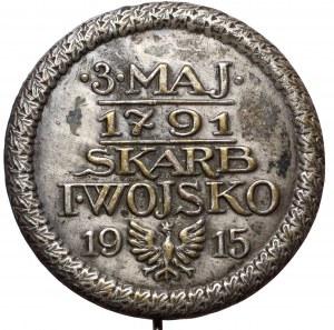 Przypinka na szpilce, 3 MAJA 1791 - SKARB I WOJSKO 1915 - mosiądz srebrzony