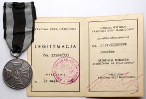 PRL, Srebrny Medal Zasłużonym na Polu Chwały + legitymacja
