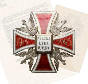 Odznaka, Polska Liga Wojennej Walki Czynnej - RZADKOŚĆ - ilustrowana w Sawickim