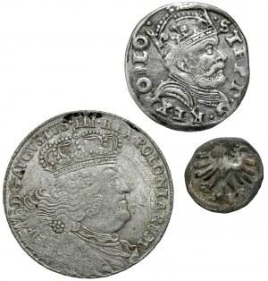 Aleksander Jagiellończyk, Stefan Batory i August III Sas - Denar, Trojak i Ort (3szt)