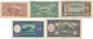 Litwa, zestaw banknotów 1927-1929 (5szt)