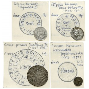 Grosz, półgrosze i denar - XIV-XVI w. (4szt)