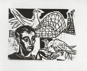 Stern Jonasz (1904-1988), Portret męski z gołębiami, 1936