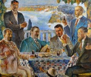 Władysław Jarocki (1879 Podhajczyki, Ukraina - 1965 Kraków), Artyści przy stole