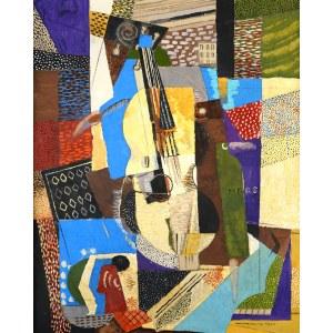 Louis Marcoussis (1878 Warszawa - 1941 Cusset, Francja), Martwa natura ze skrzypcami, 1921