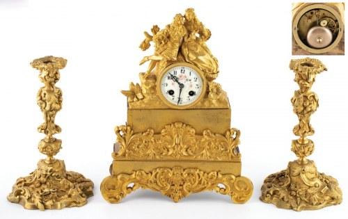 ZEGAR KOMINKOWY Z PARĄ KANDELABRÓW, Francja, Paryż, Honore Pons, po 1827