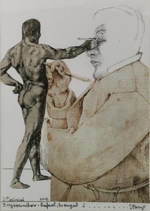 Stasys EIDRIGEVICIUS (ur. 1949), Trzech rysowników - Rafael, Breugel i .... Stasys, 2012