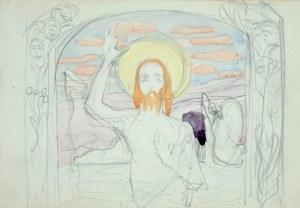 Włodzimierz Tetmajer (1861 - 1923), Chrystus Zmartwychwstały - szkic projektu obrazu ołtarzowego (?) z ozdobną ramą, 1900